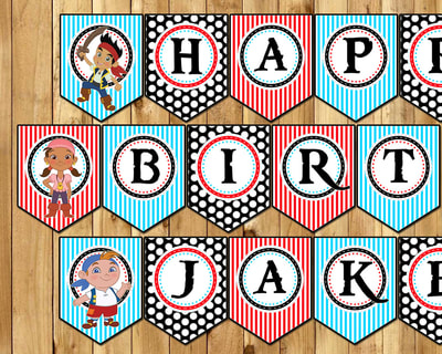 Jake and the Neverland Pirates Birthday Banner - Includes all letters and characters Happy Birthday Jake and the Neverland Pirates Banner