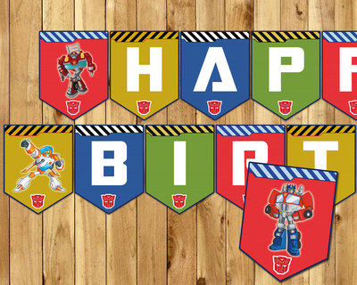 Transformers Inspired Birthday Banner