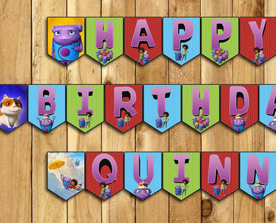 Home Birthday Banner - Almost Home Happy Birthday Banner -Download Print Customizable Home Dreamworks Happy Birthday Banner instant download