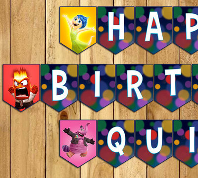 Inside Out Inspired Birthday Banner - Inside Out Banner - Download Print Customizable Inside Out Happy Birthday Banner Inside Out Bunting