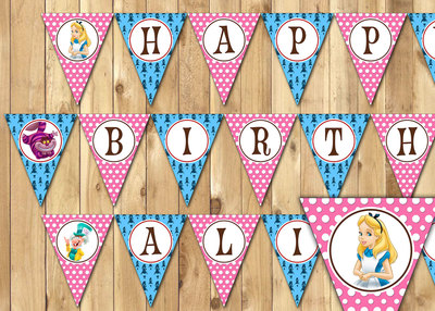 Alice in Wonderland Inspired Birthday Banner