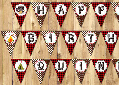 Camping Inspired Birthday Banner Instant Download