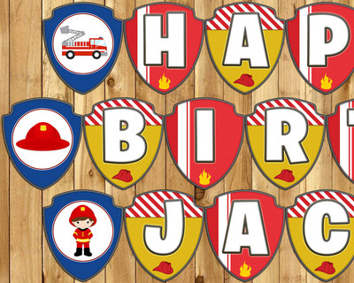 Firefighter Birthday Banner - Download Print Customize - Fireman Themed Birthday Banner Fireman Birthday Banner Firefighter Birthday Banner