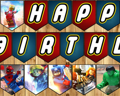 Lego Avengers Inspired Birthday Banner - Lego Avengers Banner - Download Print Customizable Lego Avengers Happy Birthday Banner Lego Bunting
