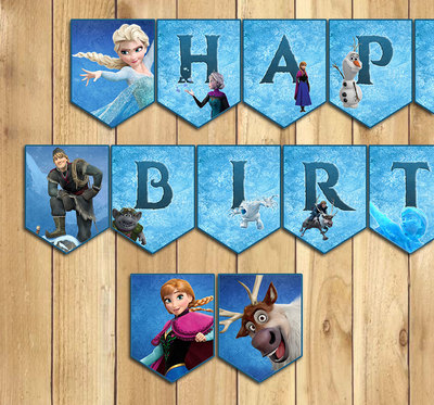 Printable Frozen Happy Birthday Banner - All Letters and Numbers Printable Banner Frozen Birthday Banner Bunting Olaf Birthday Banner